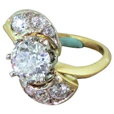 "Mid Century 1.27 Carat Old Cut Diamond ""Comet"" Ring, French, circa 1950"