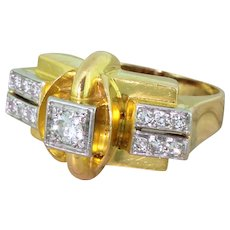 Mid Century 0.36 Carat Round Brilliant Cut Diamond Ring, French, circa 1950
