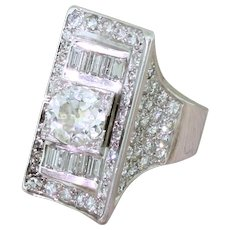 Art Deco 2.68 Carat Old Cut & Baguette Cut Diamond Ring, circa 1940