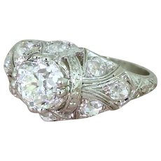 Edwardian 2.51 Carat Old Cut Diamond Engagement Ring, circa 1910