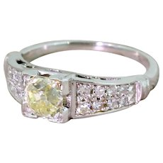 Art Deco 0.75 Carat Light Yellow Old Cut Diamond Engagement Ring, circa 1930