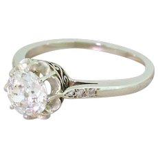 Art Deco 1.10 Carat Old Cut Diamond Engagement Ring, French, circa 1925
