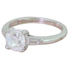 Art Deco 1.27 Carat Old Mine Cut Diamond Engagement Ring, circa 1930