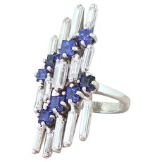 Mid Century Baguette Cut Diamond & Sapphire Cocktail Ring, circa 1965