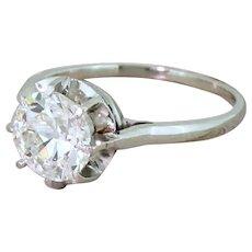 Art Deco 1.50 Carat Old European Cut Diamond Engagement Ring, French, circa 1940