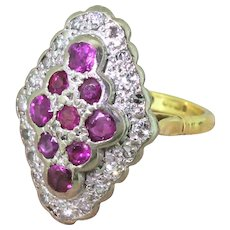 Late 20th Century Ruby & Diamond Navette Cluster Ring, dated 1990