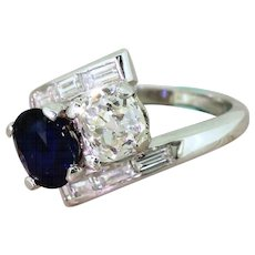 Art Deco 1.33 Carat Old Cut Diamond & 1.40 Carat Sapphire Crossover Ring, circa 1925