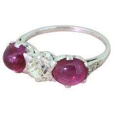 Art Deco Old Cut Diamond & Cabochon Ruby Trilogy Ring, circa 1940