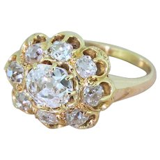 Victorian 1.55 Carat Old Cut Diamond Cluster Ring, circa 1900