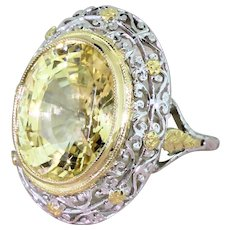 Edwardian 11.00 Carat Natural Ceylon Yellow Sapphire Ring, circa 1910