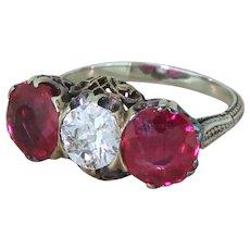 Art Deco 0.80 Carat Old Cut Diamond & Synthetic Ruby Trilogy Ring, circa 1930