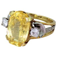 Mid Century 5.70 Carat Natural Yellow Ceylon Sapphire Ring, circa 1955