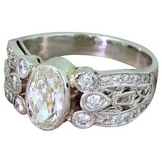 Mid Century 1.04 Carat Old Oval Cut Diamond Dress Ring, circa 1960