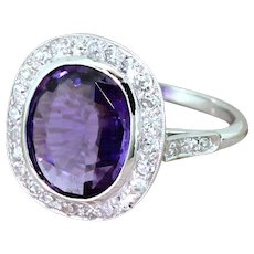 Retro 3.50 Carat Natural Purple Sapphire & Diamond Ring, circa 1950