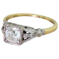 Edwardian 0.88 Carat Old Cut Diamond Engagement Ring, circa 1910