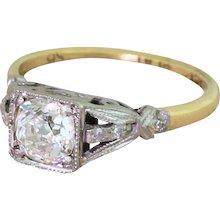 Edwardian 0.88 Carat Old Cut Diamond Engagement Ring, circa 1910