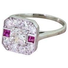 0.85 Carat Old Cut Diamond & Pink Tourmaline Cluster Ring, 18k Gold