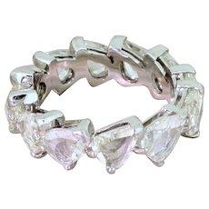 5.51 Carat Pear Rose Cut Diamond Full Eternity Ring, 18k White Gold