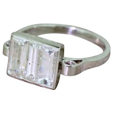 Art Deco 1.75 Carat Baguette Cut Diamond Trilogy Ring, circa 1925