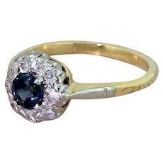 Mid Century Sapphire & Eight Cut Diamond Cluster Ring, circa 1950