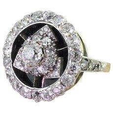 Art Deco 4.40 Carat Old Cut Diamond & Onyx Cluster Ring, circa 1925