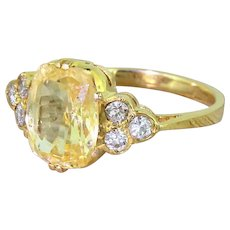 Mid Century 4.50 Carat Natural Yellow Sapphire & Diamond Ring, circa 1955