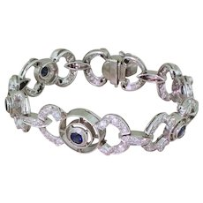 Mid Century 1.74 Carat Sapphire & 2.60 Carat Diamond Bracelet, circa 1960