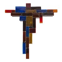 Massive Geometrical Multi-Color Murano Glass Sculpture Sconce