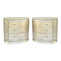 A Pair of 1970 Large Silver Leaf Oval Chests of Drawers.