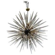 "Important ""Ghiaccio"" Murano Glass Obelisks Chandelier"