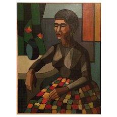 A Cubist Woman,oil on canvas circa 1960