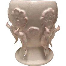 white glazed terracotta vase by french artist Jeannine Nathan