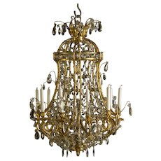 Napoleon III gilt bronze chandelier with crystal prisms