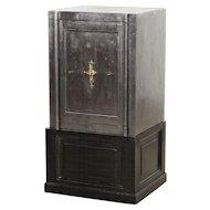 Safe placed on wood cabinet, Denmark 1880