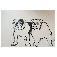 'Mr & Mrs Bulldog' Lino cut print, signed by artist, at RAMSAY