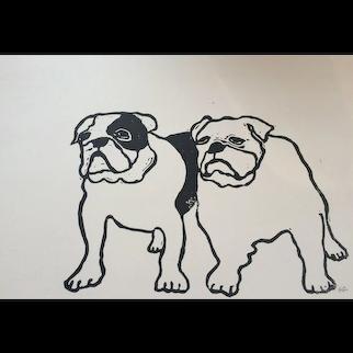 'Mr & Mrs Bulldog' Lino cut print, signed by artist, at RAMSAY