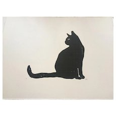 'Black Cat' Lino cut print, signed by artist at RAMSAY