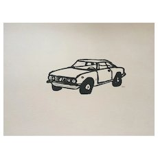 'Alfa Romeo Car' lino cut print signed by artist.