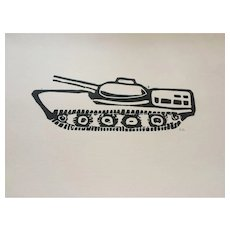 'WWII Tank' Lino cut print signed by artist, available at RAMSAY