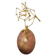 Gilbert Albert Gold Necklace with Abalone Shell and Keshi Pearl, 1970s