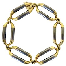 Van Cleef & Arpels Steel and Gold Link Bracelet