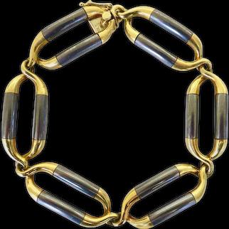 Van Cleef & Arpels Steel and Gold Link Bracelet