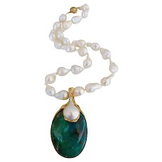 1970s Gilbert Albert Pearl and Azure-Malachite Necklace