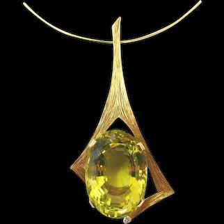 Andrew Grima Lemon Quartz Pendant Necklace, 1970s