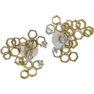Andrew Grima Gold and Diamond Earrings