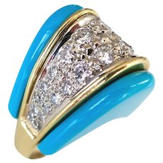 1970s Turquoise and Diamond Ring