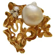 Gilbert Albert South Sea Pearl Diamond Gold Ring