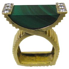 La Triomphe Malachite and Diamond Ring c1970