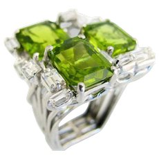 Barbara Anton Modernist Peridot and Diamond Cocktail Ring