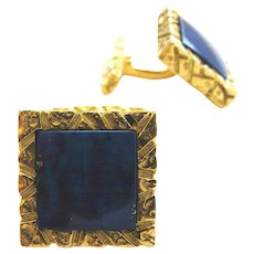 Lapis Lazuli and Gold Cufflinks,c 1970